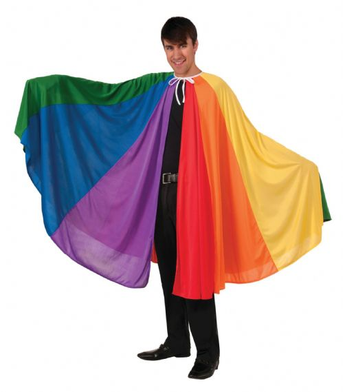 Rainbow Cape Costume Superhero Villian Super Hero Fancy Dress Outfit Cosplay